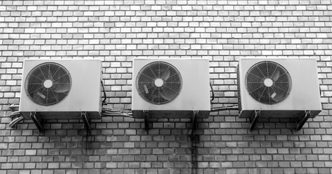 A picture of air conditioning systems on a wall
